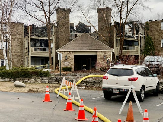 The front entrance of the fire-damaged apartment building at White Oaks apartment complex in Bayside. The building caught fire early Saturday morning.