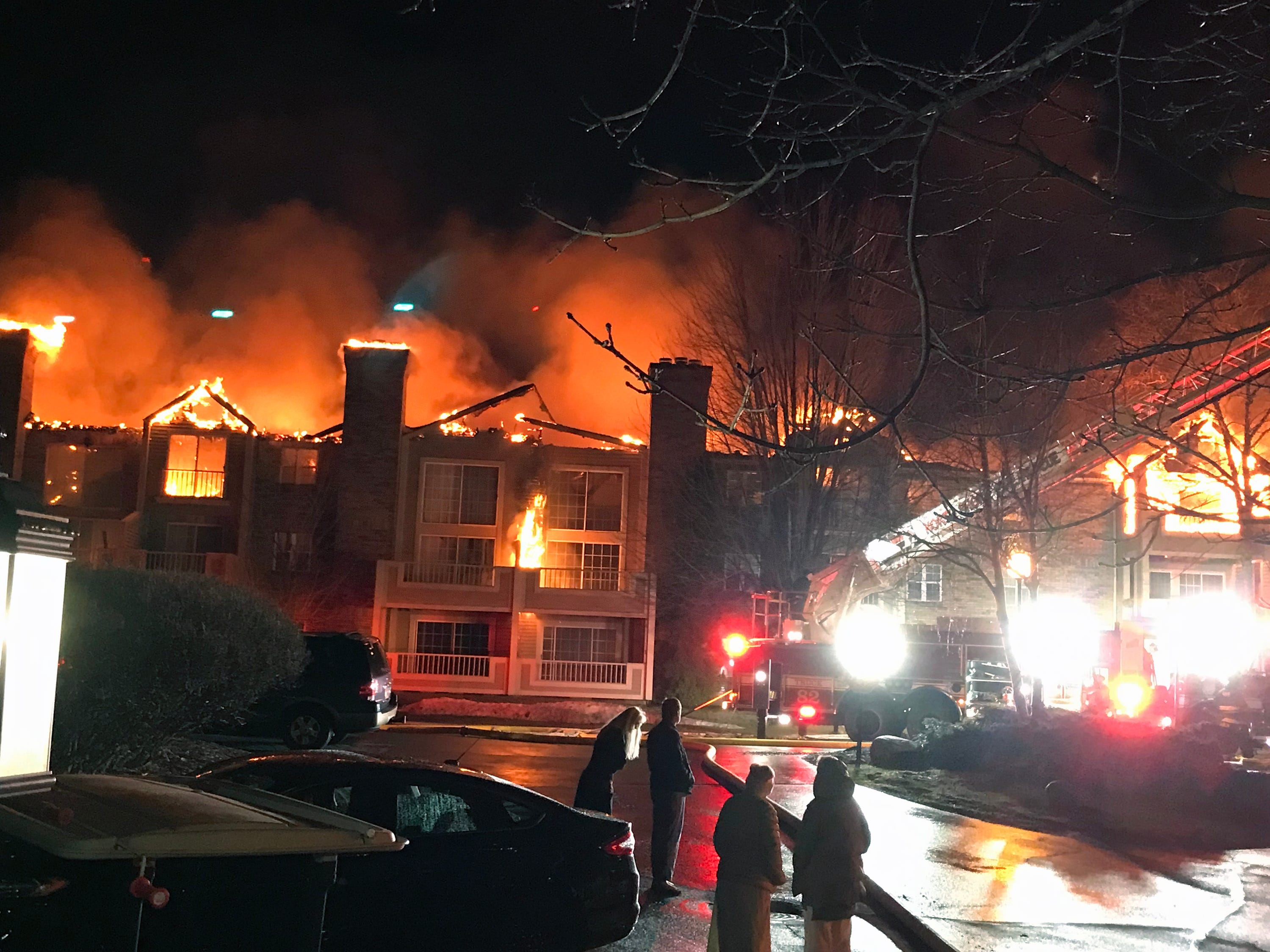 A building at White Oaks apartment complex was destroyed in an early morning fire in Bayside.