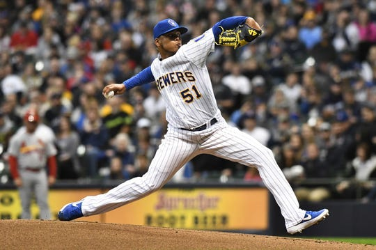 Freddy Peralta ran into trouble in the first inning Friday night against the Cardinals at Miller Park.