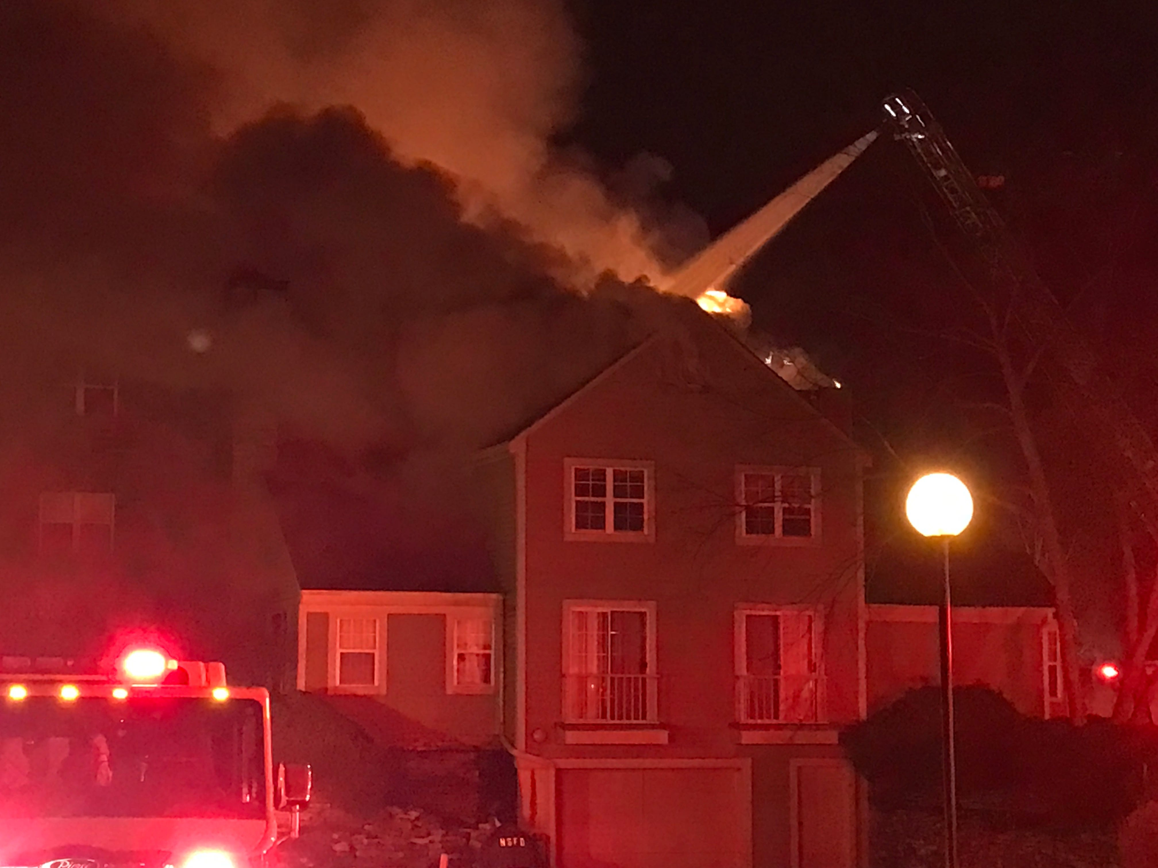 Minor injuries were reported at the scene of a three-alarm fire at the White Oaks apartment complex.