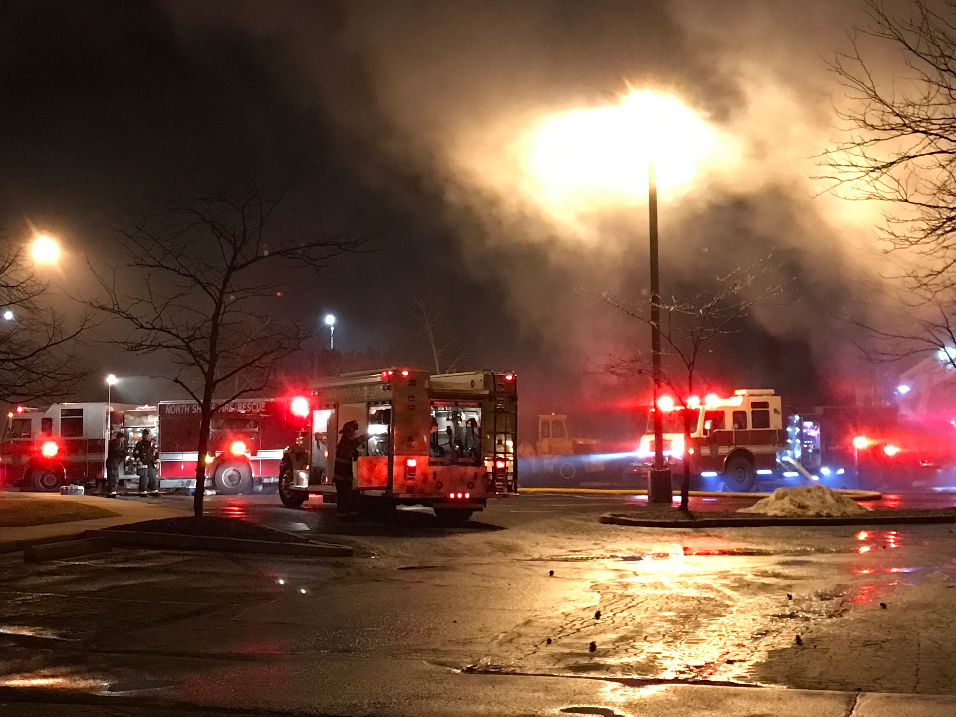 Units from Milwaukee, West Allis, Wauwatosa, Germantown, Menomonee Falls, Cedarburg, Mequon and Thiensville aided North Shore Fire/Rescue in battling the blaze.