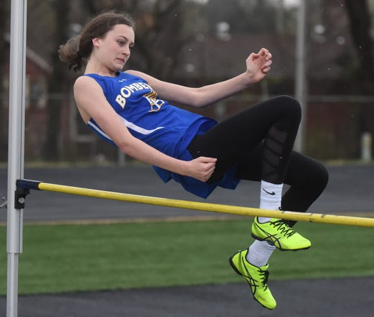 Mountain Home's Emma Wilber in the high jump.