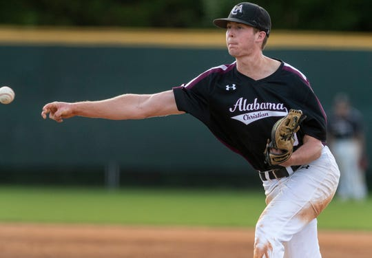 Alabama Christian Academy's Thomas Mesaris pitches against Trinity on the Trinity campus in Montgomery, Ala., on Friday March 29, 2019.