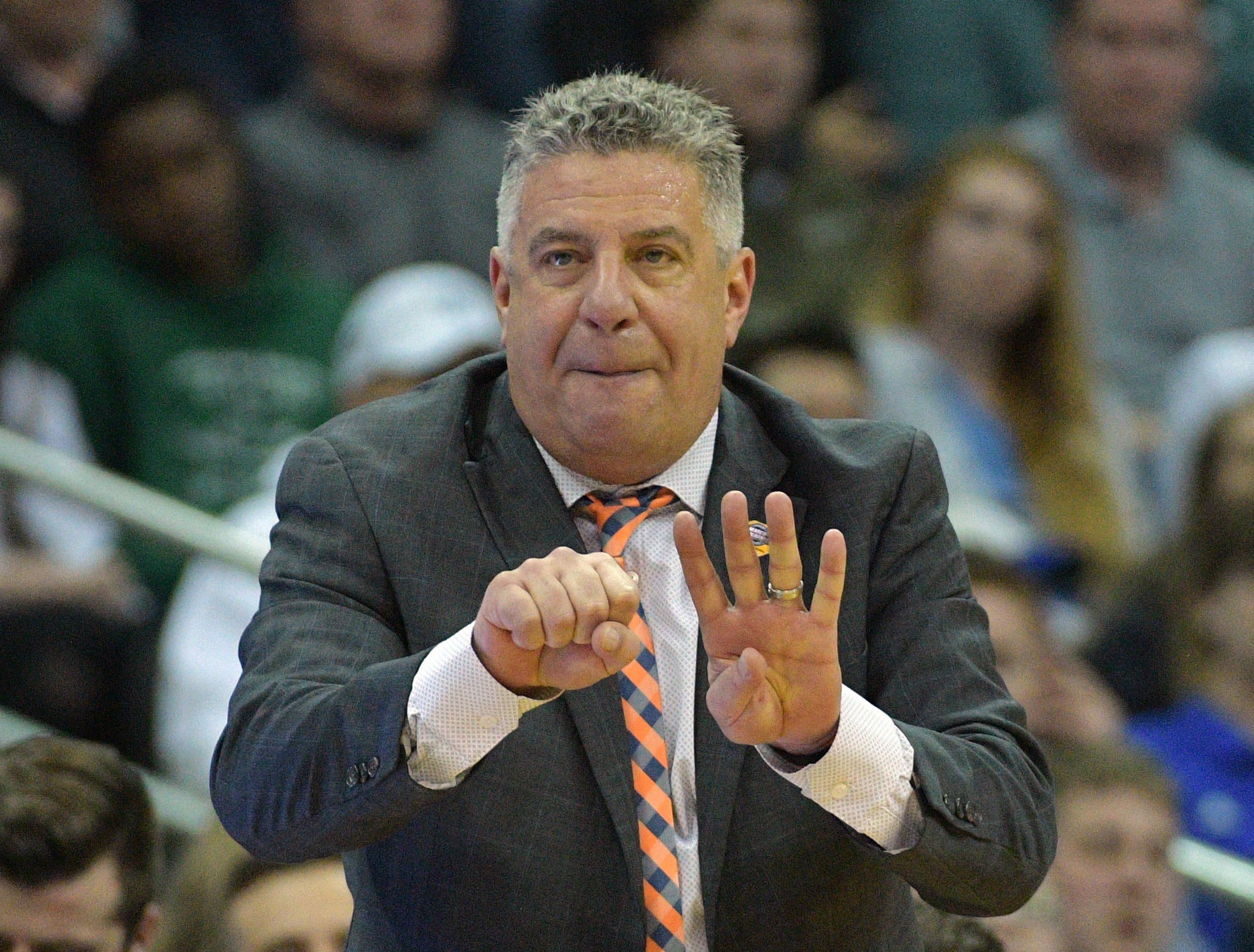 Mar 29, 2019; Kansas City, MO, United States; Auburn Tigers head coach Bruce Pearl gestures against the North Carolina Tar Heels during the first half in the semifinals of the midwest regional of the 2019 NCAA Tournament at Sprint Center. Mandatory Credit: Denny Medley-USA TODAY Sports