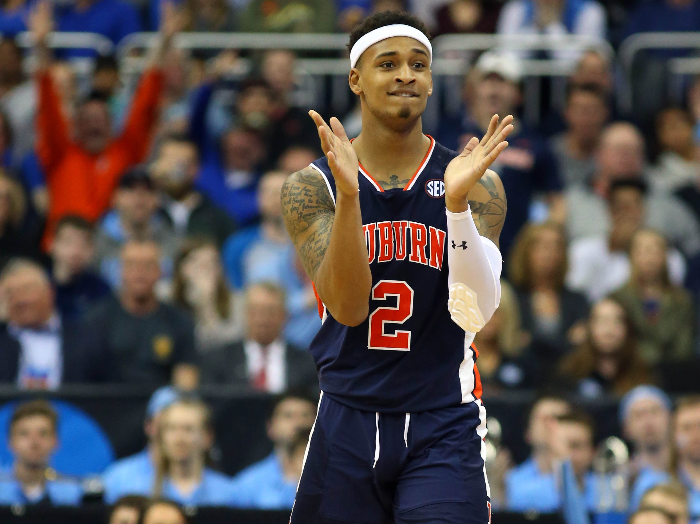 Mar 29, 2019; Kansas City, MO, United States; Auburn Tigers guard Bryce Brown (2) reacts against the North Carolina Tar Heels during the second half in the semifinals of the midwest regional of the 2019 NCAA Tournament at Sprint Center. Mandatory Credit: Jay Biggerstaff-USA TODAY Sports