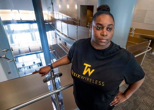 Chaymeiryia Moncrief talks about her tech startup, Tesix Wireless, in Montgomery, Ala., on Friday March 29, 2019.