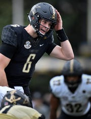 Vanderbilt quarterback Riley Neal (6) calls a play at the line of scrimmage during the spring game in March.
