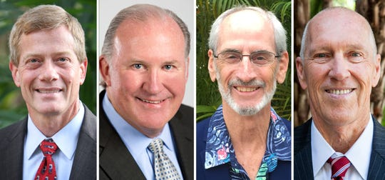 These are the Naples City Council candidates from left to right: Ted Blankenship, Ray Christman, George Dondanville and Bill Moss.