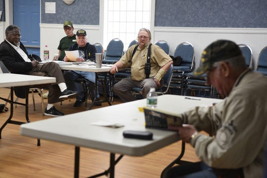 """Disabled American Veterans Northern Chapter 32  in Bergenfield held a book reading and signing with Vietnam veteran Mitchell Barnett of Fort Lee, on far right, on March 30, 2019. Barnett recently published his memoir, """"When We Die, We're All Going to Heaven, Because We've All Been Through Hell."""""""