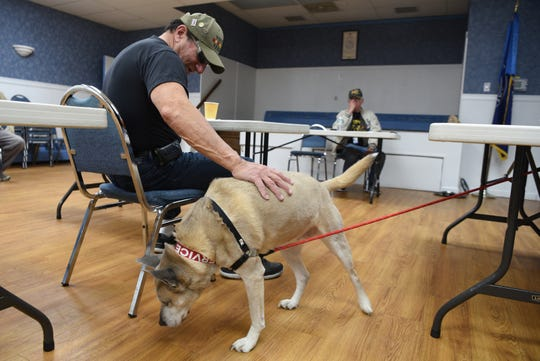 """Disabled American Veterans Northern Chapter 32 member Tony Lione of Emerson pets Lacey, the service dog of Vietnam veteran Mitchell Barnett of Fort Lee on March 30, 2019. Barnett recently published his memoir, """"When We Die, We're All Going to Heaven, Because We've All Been Through Hell."""""""