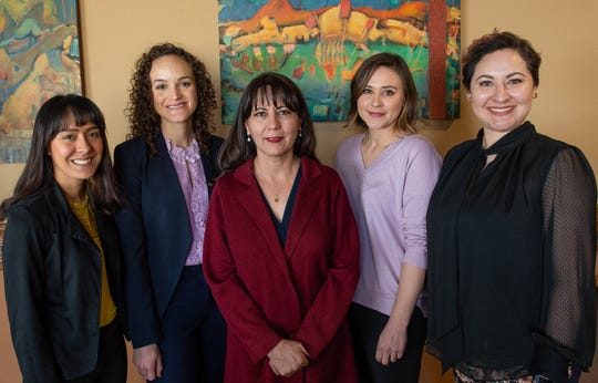 From left, Adriena Hernandez,, Clara Reyes, Dr. Rebecca Palacios, Karoline Sondgeroth and Isela Garcia. Palacios, associate professor in the Department of Public Health Sciences at New Mexico State University, and her research team will launch the university's first clinical trial this year to evaluate the effectiveness of a cancer education program tailored for Hispanic women with school-aged children. The clinical trial will continue until 2021.