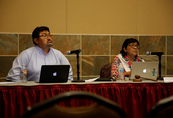 From left, Leonard Gorman, executive director for the Office of Navajo Nation Human Rights Commission, and Jennifer Denetdale, chairperson of the commission, listen to testimony during the public hearing on Thursday at the Farmington Civic Center.