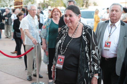 Sacheen Littlefeather arrives for the American Documentary Film Festival, Palm Springs, Calif., March 29, 2019.