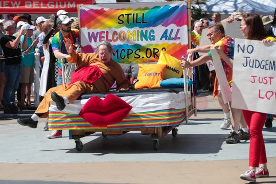 The United Methodist Church of Palm Springs participates in the Parade of Beds at Cathedral City LGBTQ Days, March 30, 2019.