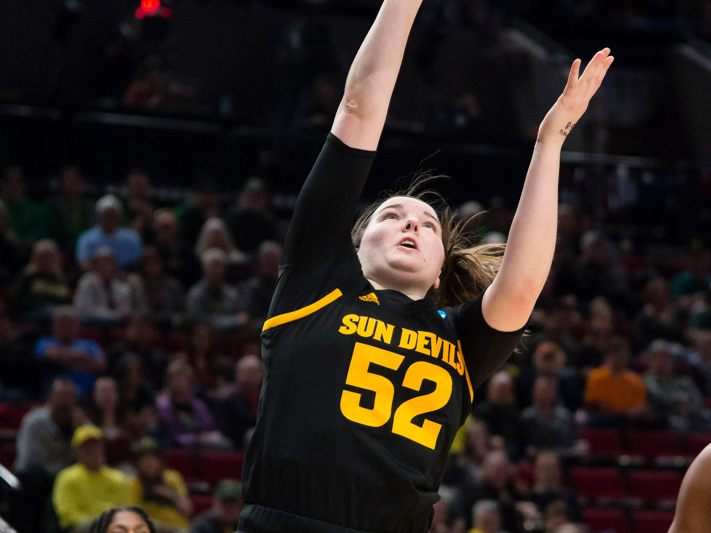 Mar 29, 2019; Portland, OR, USA; Arizona State Sun Devils forward Jamie Ruden (52) takes a shot during the first half against the Mississippi State Bulldogs in the semifinals of the Portland regional in the women's 2019 NCAA Tournament at Moda Center.