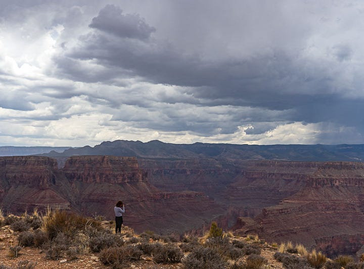 A photo of my wife from Tatahatso Point on the Navajo Nation Reservation