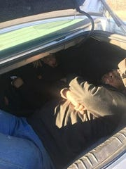 Undocumented immigrants are found after being concealed in the trunk of a car that was stopped north of Nogales on March 28, 2019, officials said.