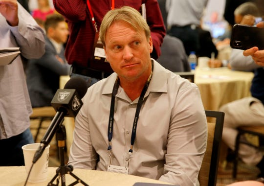 Raiders coach Jon Gruden speaks to the media during the NFL coaches breakfast at the NFL owners meetings in Phoenix on March 26.