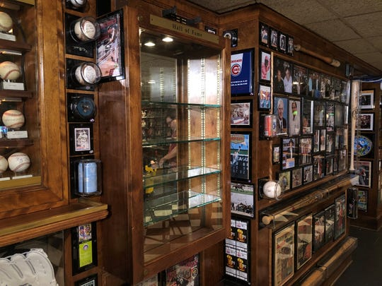 Empty display where stolen baseballs were at Don & Charlie's in Scottsdale on March 20, 2019.