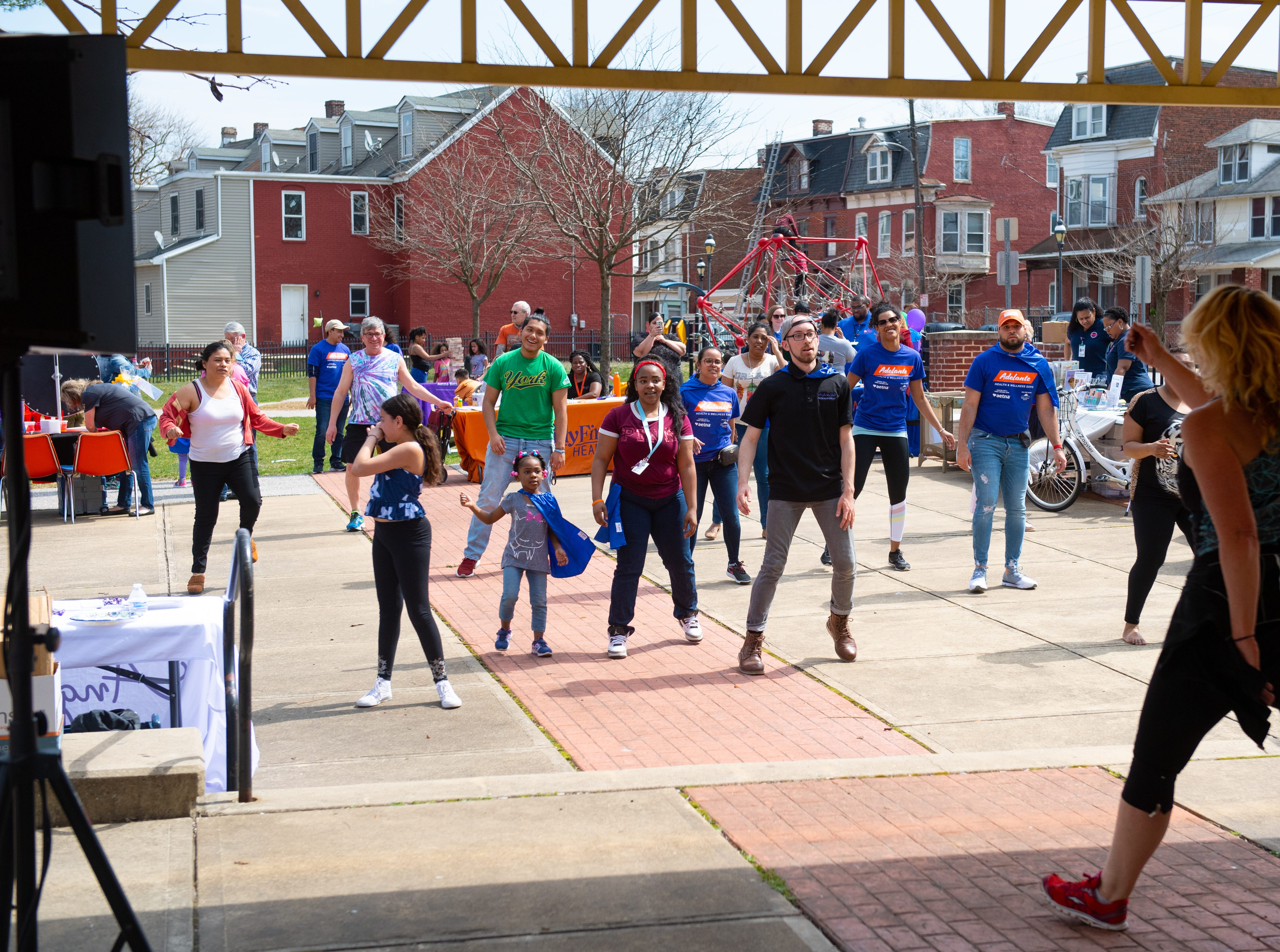 A Zumba class gets attendees up and active during the Adelante Festival at Renaissance Park, March 30, 2019.