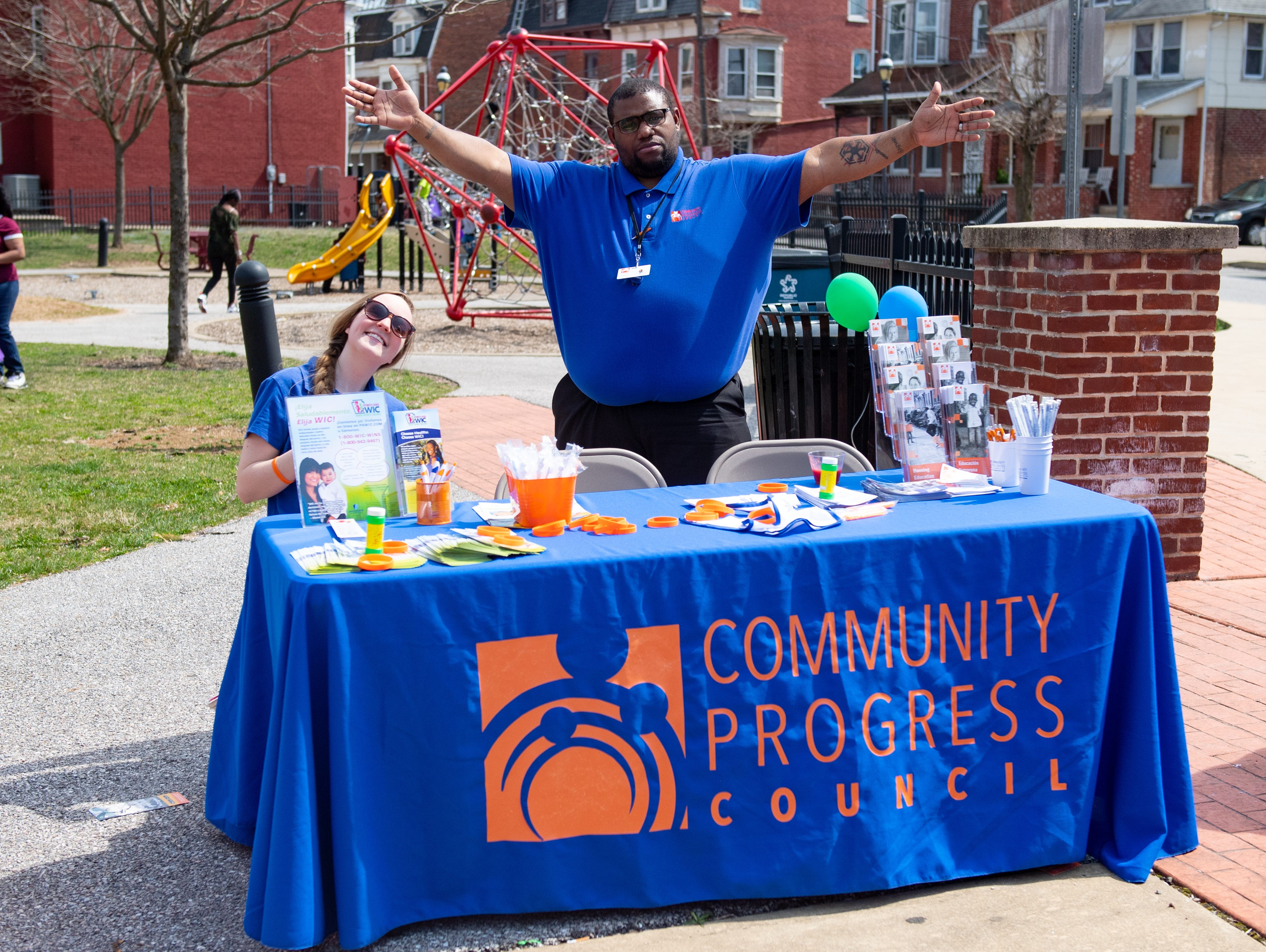 The Community Progress Council booth welcomes all to stop by during the Adelante Festival at Renaissance Park, March 30, 2019.