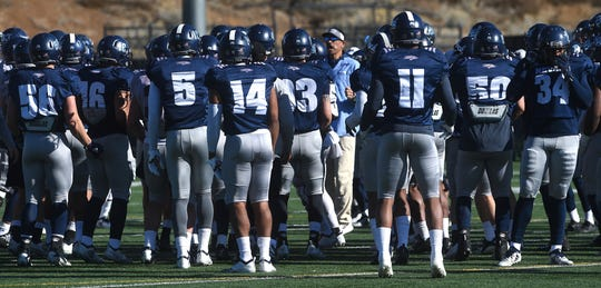 The Nevada football team participates in a spring practice in Reno on March 30, 2019.
