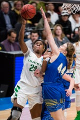 Mar 29, 2019; Portland, OR, USA; Oregon Ducks forward Ruthy Hebard (24) scores a basket during the second half against South Dakota State Jackrabbits forward Myah Selland (44) in the semifinals of the Portland regional in the women's 2019 NCAA Tournament at Moda Center. The Oregon Ducks beat the South Dakota State Jackrabbits 63-53. Mandatory Credit: Troy Wayrynen-USA TODAY Sports
