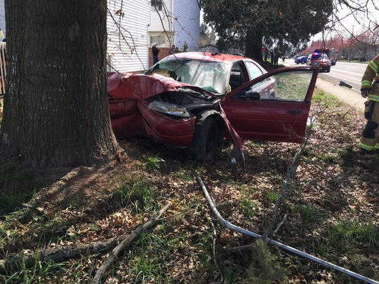 A single-vehicle crash on Lancaster Drive NE March 26 injured two.