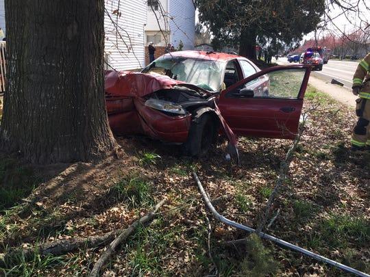 A single-vehicle crash on Lancaster Drive NE March 26 injured two.