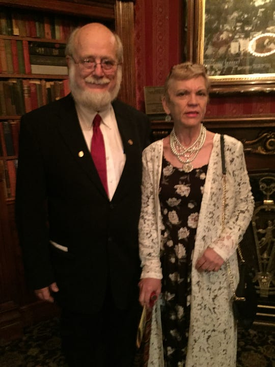 Dr. Thomas Burchard and his longtime girlfriend Judy Earp visiting Magic Castle.