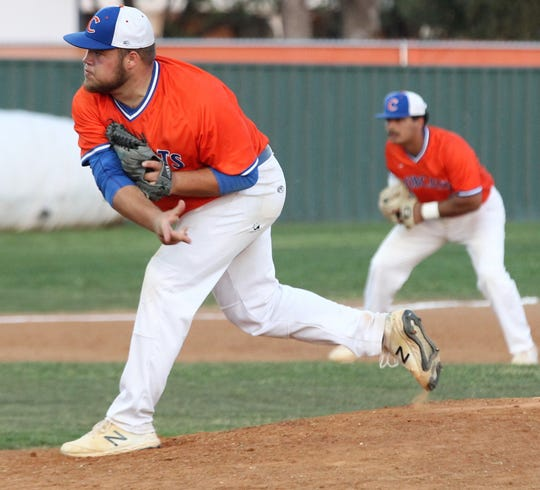 San Angelo Central pitcher Gunner Couch fires a pitch against Hurst Bell in a District 3-6A baseball game at Nathan Donsky Field on Friday, March 29, 2019.