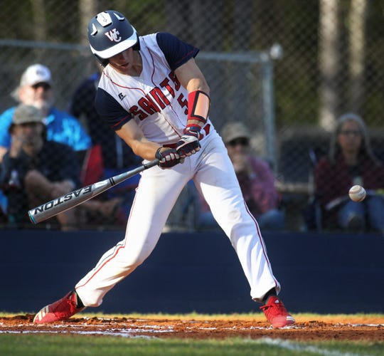 Wakulla Christian junior Allen Willis swings at a pitch as the host Saints beat Aucilla Christian 6-2 on Friday, March 29, 2019.