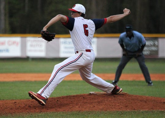 Wakulla Christian junior Seth Dudley pitches as the host Saints beat Aucilla Christian 6-2 on Friday, March 29, 2019.
