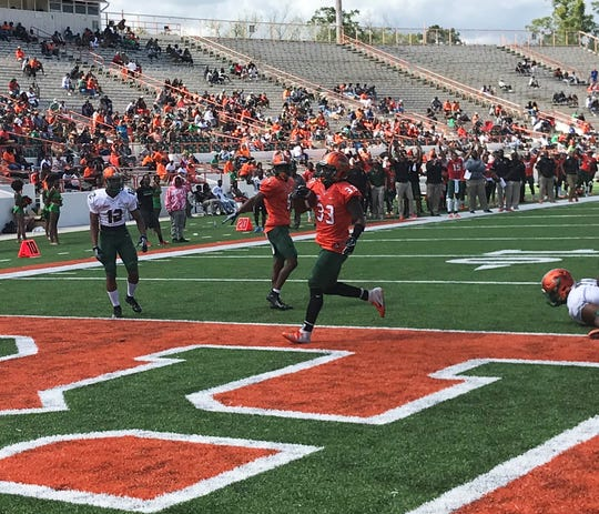 FAMU running back scored two touchdowns in the Orange & Green Game Saturday, March 30 at Bragg Memorial Stadium.