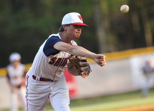 Wakulla Christian senior Jonah Lawhon pitches as the host Saints beat Aucilla Christian 6-2 on Friday, March 29, 2019.