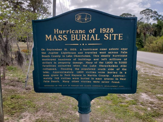 This historical marker is placed at Port Mayaca Cemetery in western Martin County a few miles from Lake Okeechobee's eastern shoreline.