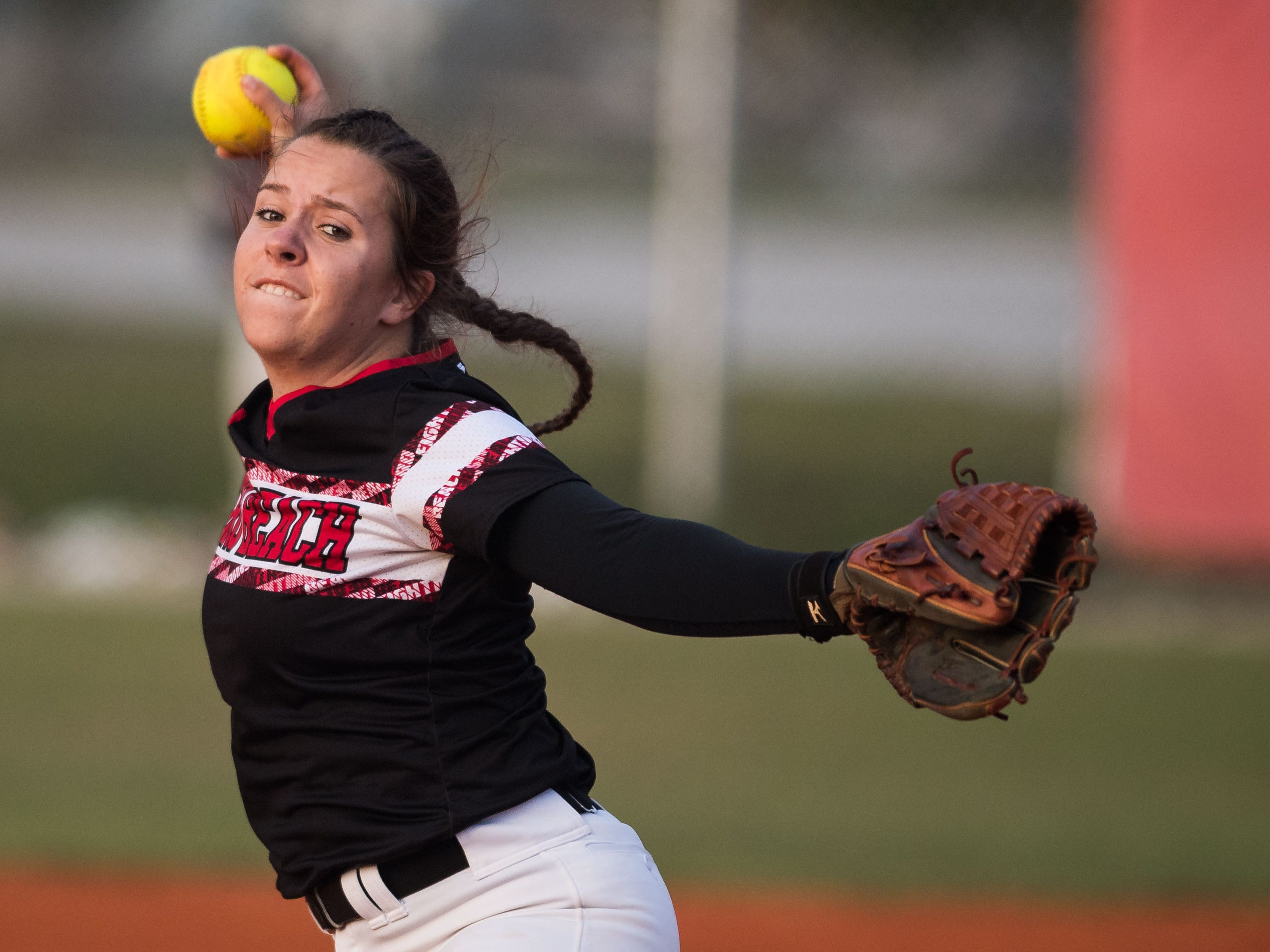 Vero Beach pitcher Shayne Hewitt throws against Treasure Coast's Brooklyn Lyons in the top of the second inning of the high school softball game Friday, March 29, 2019, at Vero Beach High School.