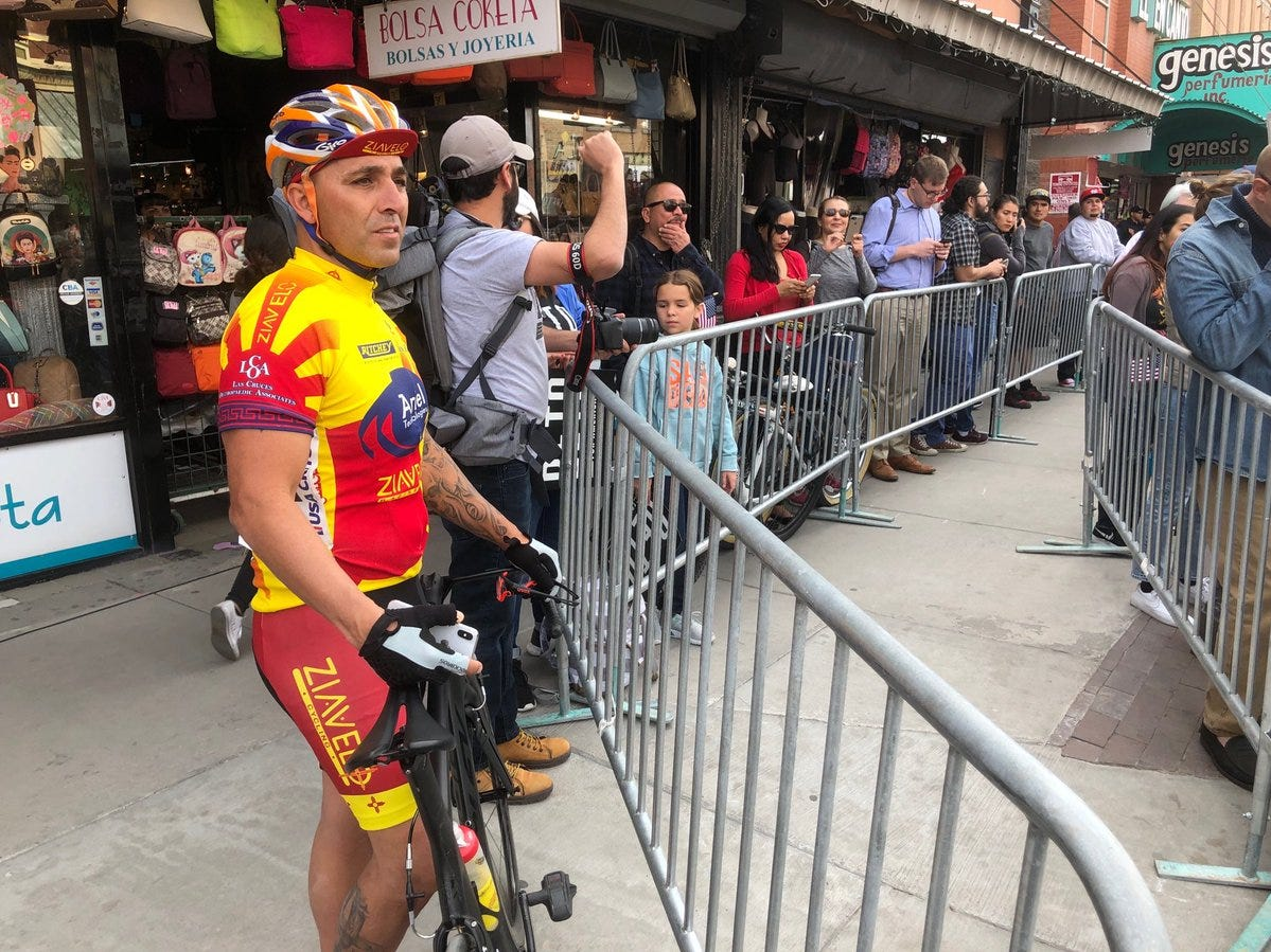 Carlos Romero of Las Cruces was participating in the Sun City bike race a few blocks away, but he stopped to check in on the Beto O'Rourke rally before his 10:45 a.m. start time.