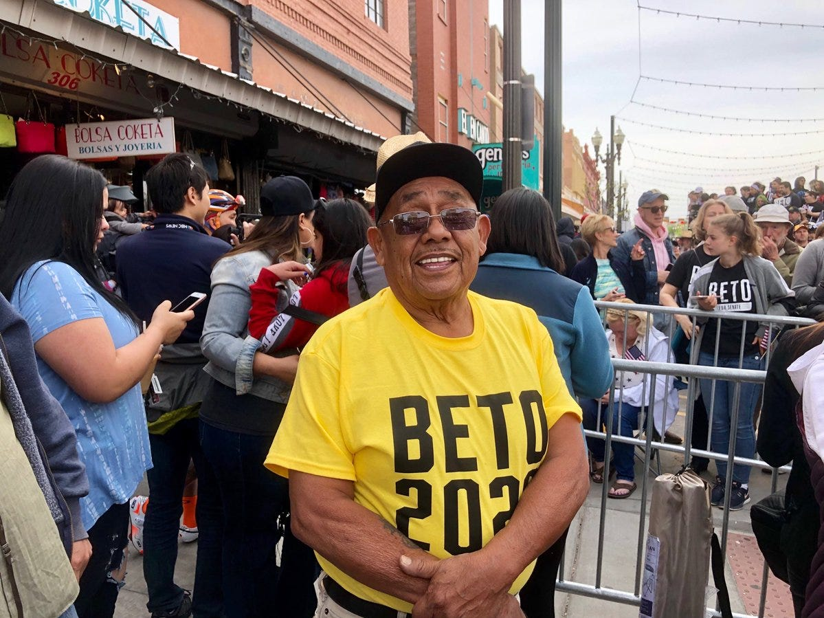 """Ruben Perez said he voted for Beto O'Rourke for El Paso City Council. He came to the Downtown rally to see """"the next president."""""""