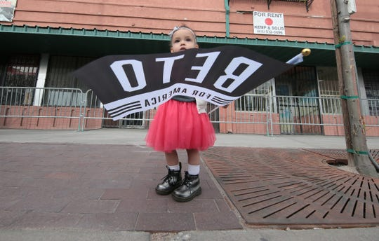 El Pasoan Beto O'Rourke officially kicked off his presidential campaign Saturday on El Paso Street in downtown El Paso. His young supporter Sarah Armendariz, 1, awaits his arrival.