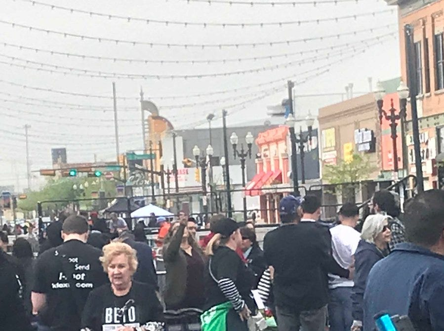 Before 9 a.m., crowds had already begun to gather for the official campaign kickoff from Beto O'Rourke in El Paso.