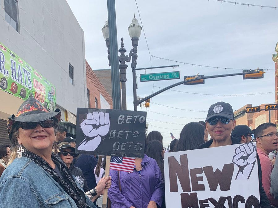 Mother and daughter Tanya and Imelda Aragon traveled from Albuquerque and Santa Fe to support presidential candidate Beto O'Rourke. Tanya Aragon said the current administration's treatment of migrants a crime against humanity.