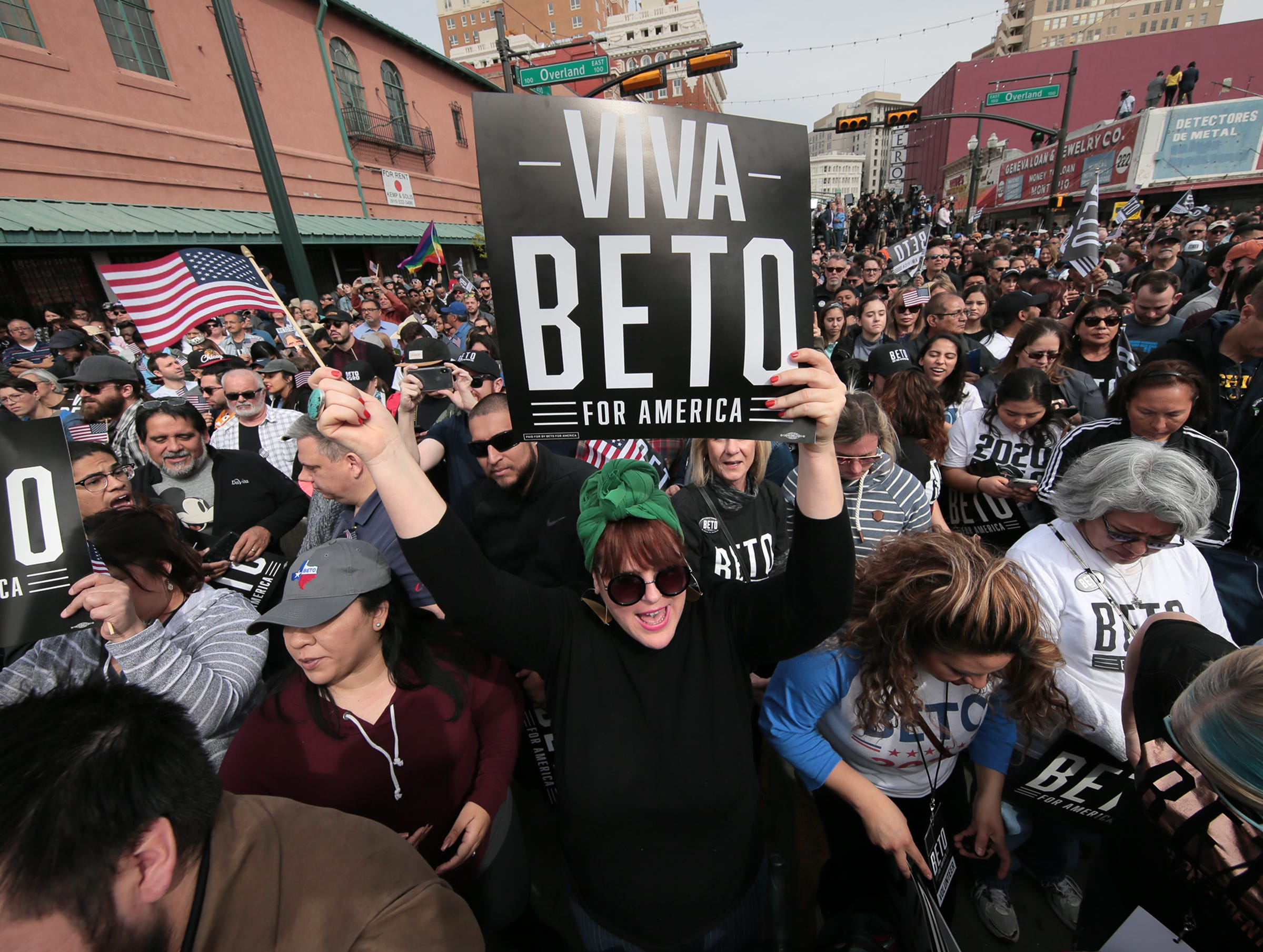 Raelyn Maxwell cheers as El Pasoan Beto O'Rourke officially kicked off his presidential campaign March 30 on South El Paso Street in Downtown El Paso.