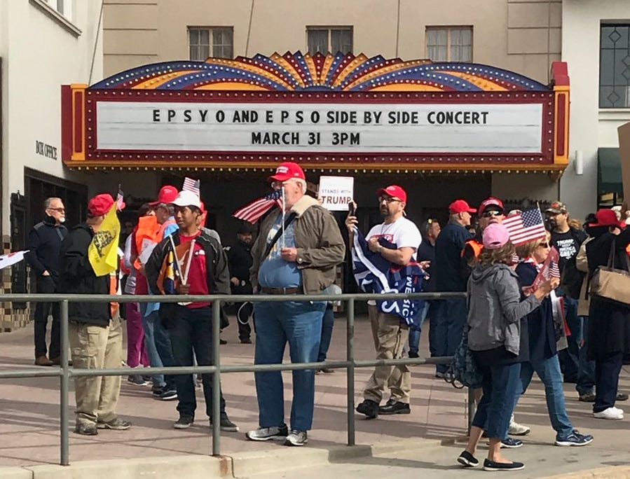 Counter-rally participants gathered ahead of the Beto O'Rourke event in Downtown El Paso. The El Paso Republican Party staged the event to support President Donald Trump a block from O'Rourke's event .
