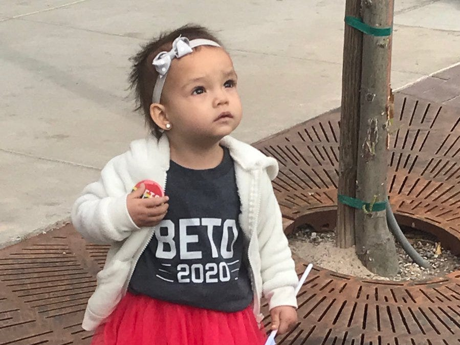 She can't vote, but she's supporting Beto O'Rourke in 2020