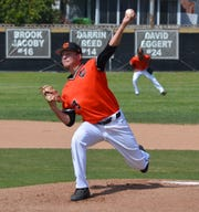 Ventura College freshman Travis Weston did not allow an earned run over 8.2 innings against visiting Long Beach City in the Game 1 of the best-of-three playoff series on Friday. LBCC won, 3-1.