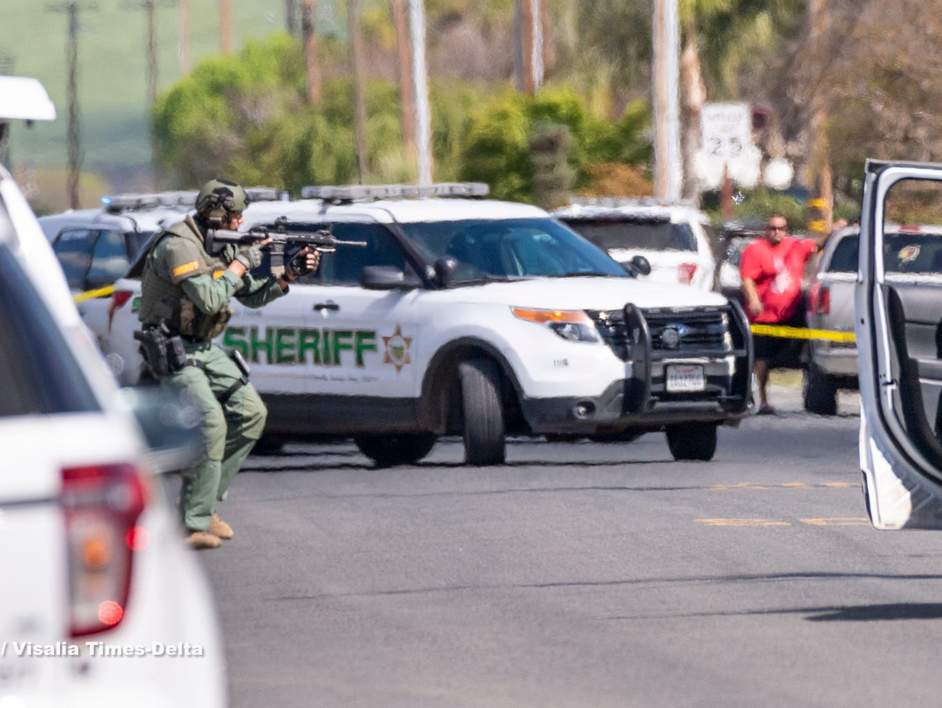 Deputies were called to a home on Road 404 in Cutler near Mueller Street around 1 p.m. on Friday. The deputies were told a man with a knife ran into a neighbor's home and threatened to kill the residents. Eventually Tulare County Sheriff Department's SWAT members deployed a robot into the house and determined the man to be unarmed, clearing the way for deputies to enter and take the man into custody about 4 p.m.