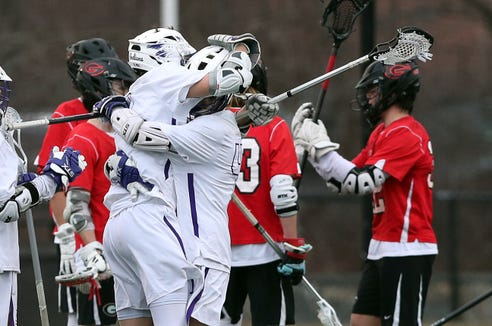 John Jay defeated Rye 8-6 in boys lacrosse action at John Jay High School in Cross River March 29, 2019.