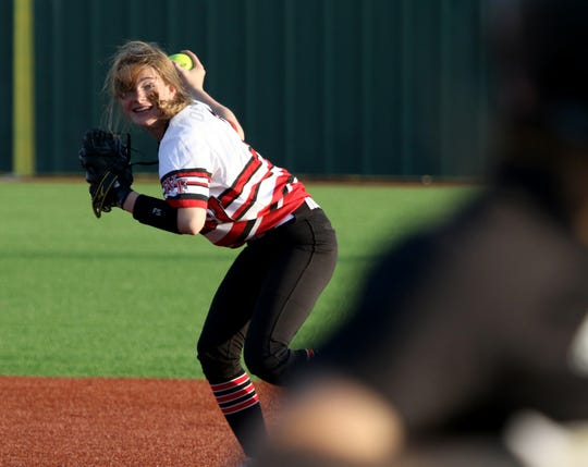 Wichita Falls High School's Kaylen Kirkhart holds the ball in the game against Rider Friday, March 29, 2019, at Sunrise Optimist Field.