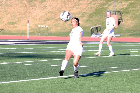 Gabby Garcia goes for the ball in Friday's Region I-5A bi-district match against Amarillo Caprock.